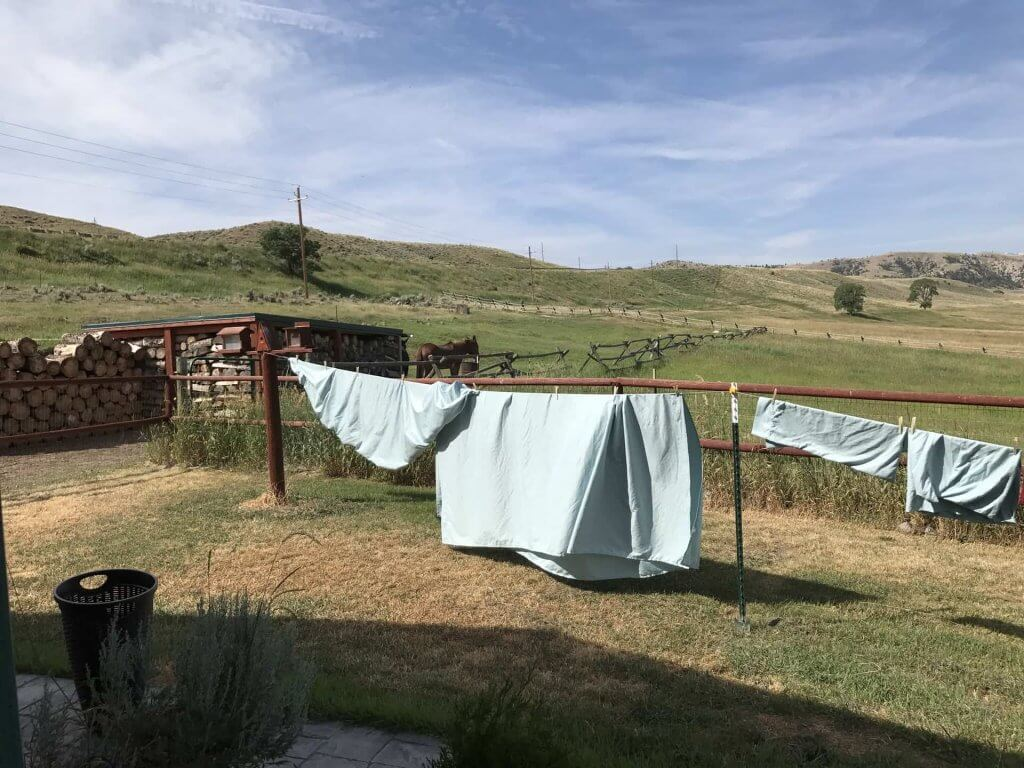 Sheets drying in a warm Wyoming morning breeze, can't beat the smell and feel of line dried sheets!